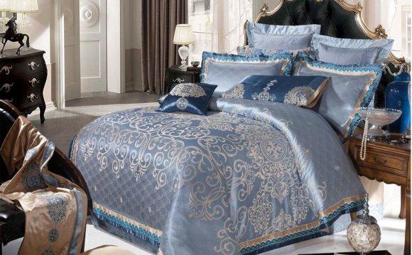 Голубое постельное белье сатин